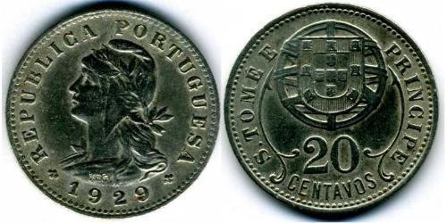 20 Centavo São Tomé and Príncipe (1469 - 1975) Copper/Zinc