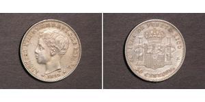 20 Centavo Puerto Rico Plata Alfonso XIII of Spain (1886 - 1941)