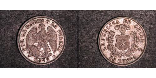 20 Centavo Chile Silber