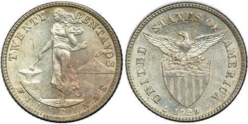 20 Centavo Philippinen Silber