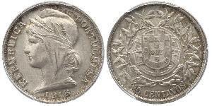 20 Centavo First Portuguese Republic (1910 - 1926) Silver