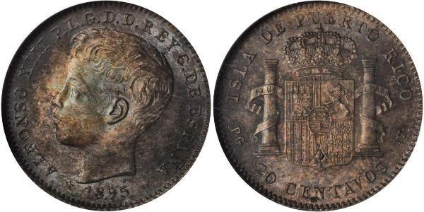 20 Centavo Puerto Rico  Alfonso XIII of Spain (1886 - 1941)