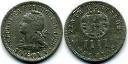 20 Centavo / 4 Macuta Portuguese Angola (1575-1975) / Portugal Copper/Zinc