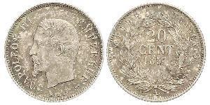 20 Centime Secondo Impero francese (1852-1870) Argento Napoleone III (1808-1873)