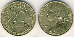 20 Centime French Fifth Republic (1958 - ) Bronze/Aluminium