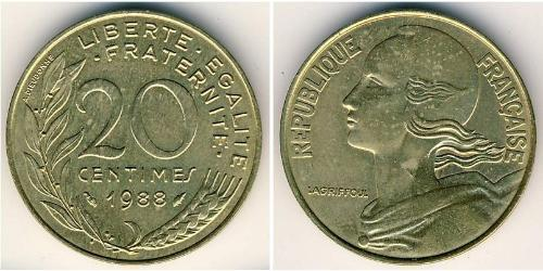 20 Centime French Fifth Republic (1958 - ) Bronze/Aluminium