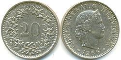 20 Centime Schweiz Kupfer/Nickel