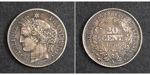 20 Centime French Second Republic (1848-1852) Silver