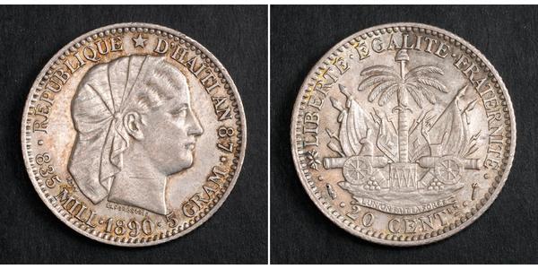 20 Centime / 1/5 Gourde Haiti Silver