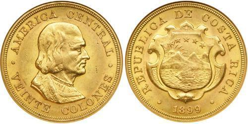 20 Colon Costa Rica Oro Cristóbal Colón (1451 - 1506)