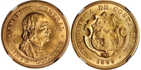 20 Colon Costa Rica Oro Cristoforo Colombo (1451 - 1506)