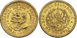 20 Colon El Salvador Oro