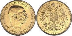 20 Corona Imperio austrohúngaro (1867-1918) Oro Franz Joseph I (1830 - 1916)
