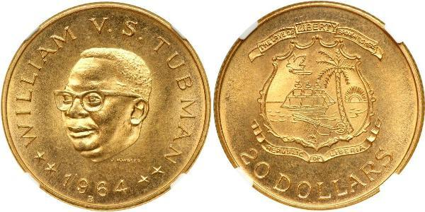 20 Dólar Liberia Oro William Vacanarat Shadrach Tubman