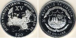 20 Dólar Liberia Plata
