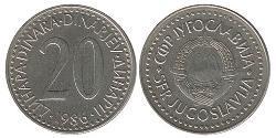 20 Dinar Socialist Federal Republic of Yugoslavia (1943 -1992) Copper/Zinc