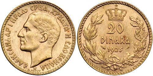 20 Dinar Royaume de Yougoslavie (1918-1943) Or Alexander I of Yugoslavia (1888 - 1934)