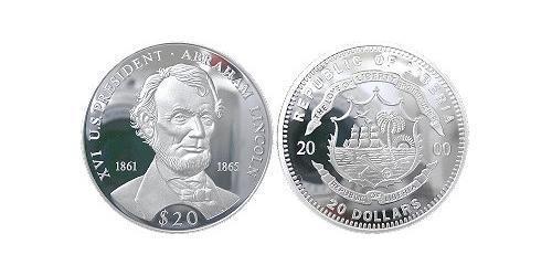 20 Dollar Liberia 銀 亚伯拉罕·林肯