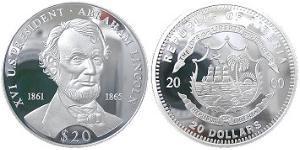 20 Dollar Liberia Silber Abraham Lincoln (1809-1865)