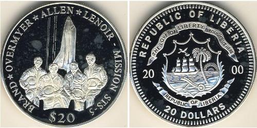 20 Dollar Liberia Silber