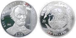 20 Dollar Liberia Silver Abraham Lincoln (1809-1865)