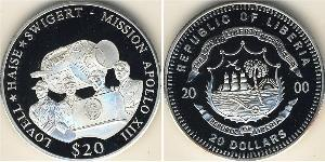 20 Dollar Liberia Silver