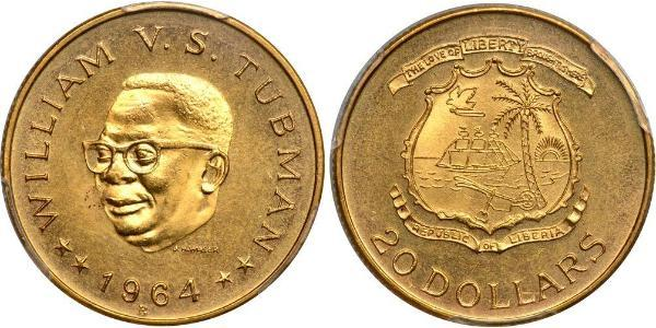 20 Dollaro Liberia Oro William Tubman