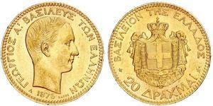 20 Drachma Regno di Grecia (1832-1924) Oro Georges Ier de Grèce (1845- 1913)