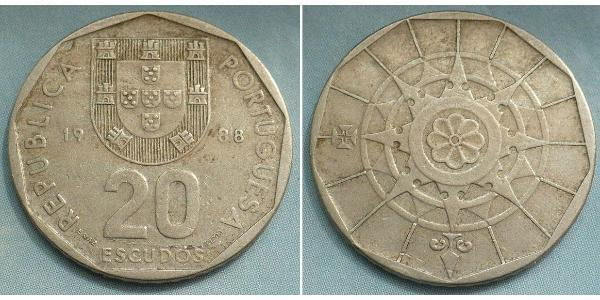 20 Escudo Portuguese Republic (1975 - ) Copper/Nickel