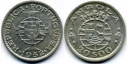 20 Escudo Portuguese Angola (1575-1975) / Portugal Silver