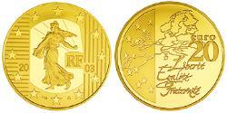20 Euro French Fifth Republic (1958 - ) Gold