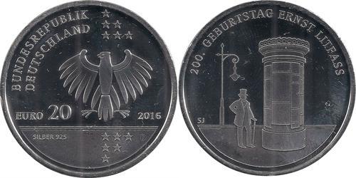 20 Euro Alemania (1990 - ) Plata