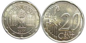 20 Eurocent Republic of Austria (1955 - ) Cobre