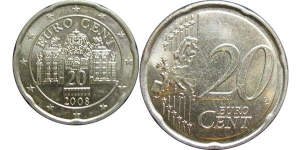 20 Eurocent Republic of Austria (1955 - ) Cobre