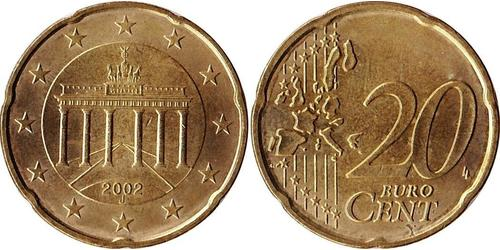 20 Eurocent Bundesrepublik Deutschland  (1990 - ) Messing