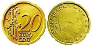 20 Eurocent Luxemburgo Tin/Aluminio/Cobre/Zinc