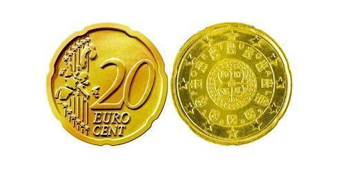 20 Eurocent Portogallo (1975 - ) Tin/Rame/Alluminio/Zinco