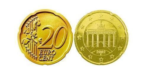 20 Eurocent Repubblica Federale di Germania (1990 - ) Tin/Rame/Alluminio/Zinco