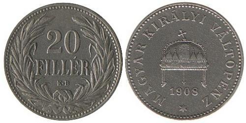 20 Filler Reino de Hungría (1000-1918) Níquel