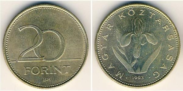 20 Forint Ungheria (1989 - ) Ottone