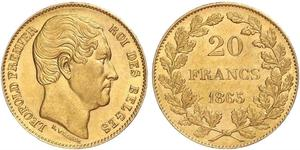 20 Franc 比利时 金 利奥波德一世 (比利时) (1790 - 1865)