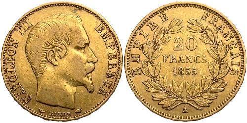 20 Franc 法蘭西第二帝國 (1852 - 1870) 金 拿破仑三世