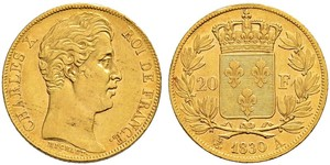 20 Franc 波旁复辟 金 查理十世 (法兰西) (1757-1836)