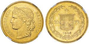 20 Franc 瑞士 金