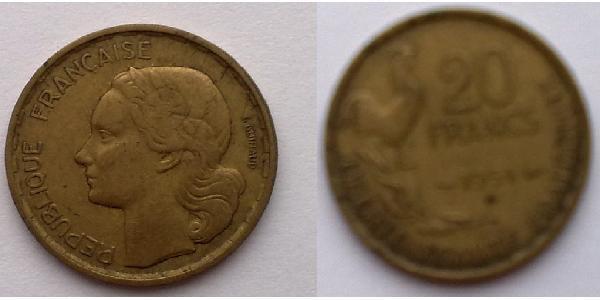 20 Franc 法兰西第四共和国 (1946 - 1958) 青铜/铝