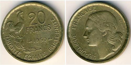 20 Franc French Fourth Republic (1946-1958) Bronze/Aluminium