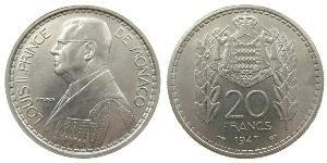 20 Franc Monaco Copper/Nickel Louis II Prince of Monaco (1870-1949)