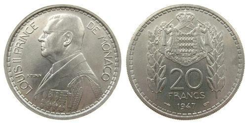 20 Franc Monaco Copper/Nickel Louis II Prince of Monaco (1870-1949)