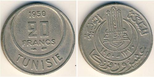 20 Franc Tunisia Copper/Nickel