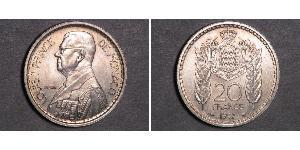 20 Franc Monaco Cuivre/Nickel Louis II de Monaco (1870-1949)
